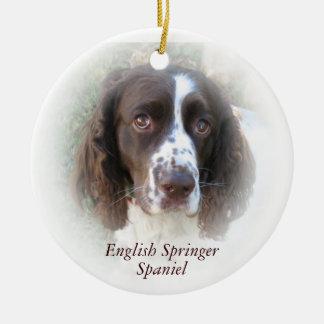 Ornamento del navidad del perro de aguas de adorno navideño redondo de cerámica