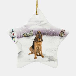 Ornamento del navidad del perro de la sangre ornamentos de navidad