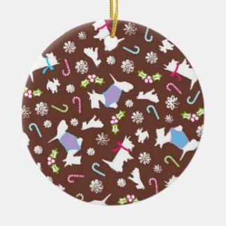 Ornamento del navidad del perro de Scotty Adorno Navideño Redondo De Cerámica