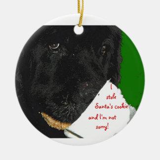 Ornamento del navidad del perro de Terranova Adorno Redondo De Cerámica