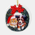 Ornamento del navidad del perro y del gato ornamento de navidad