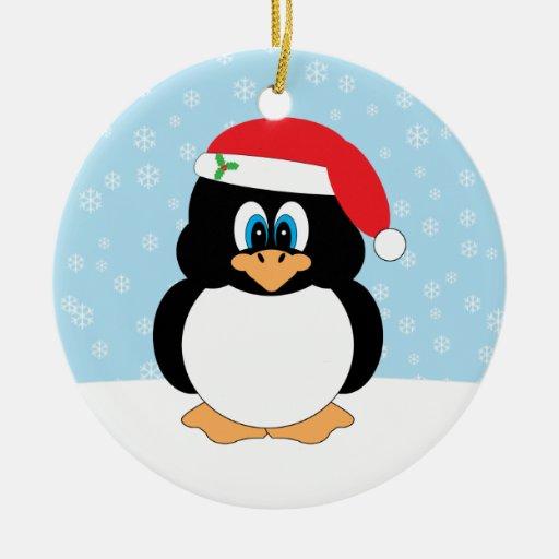 Ornamento del navidad del pingüino adorno navideño redondo de cerámica