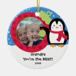 Ornamento del navidad del pingüino de la foto del ornato