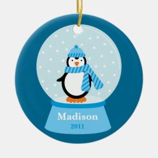 Ornamento del navidad del pingüino adorno redondo de cerámica