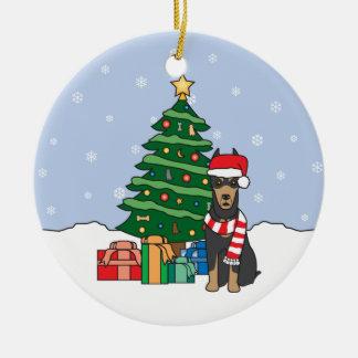 Ornamento del navidad del Pinscher del Doberman Adorno Redondo De Cerámica