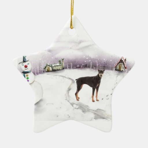 Ornamento del navidad del pinscher del Doberman Adorno De Cerámica En Forma De Estrella