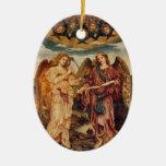 Ornamento del navidad del Pre-Raphaelite del ángel Adorno Navideño Ovalado De Cerámica