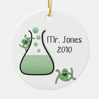 Ornamento del navidad del profesor de ciencias adorno redondo de cerámica