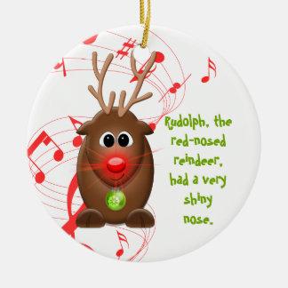 Ornamento del navidad del reno de Christms del Adorno Navideño Redondo De Cerámica