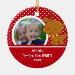 Ornamento del navidad del reno de la foto de adorno navideño redondo de cerámica