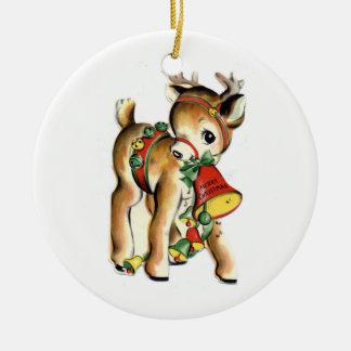 Ornamento del navidad del reno del vintage del KRW Adorno Navideño Redondo De Cerámica