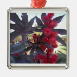 Ornamento del navidad del ricino adorno cuadrado plateado