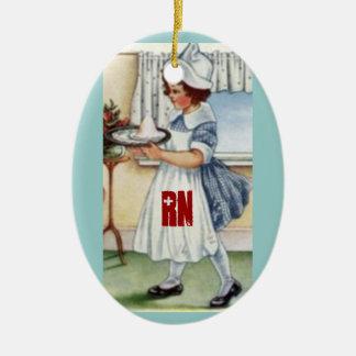 Ornamento del navidad del RN Adorno Navideño Ovalado De Cerámica