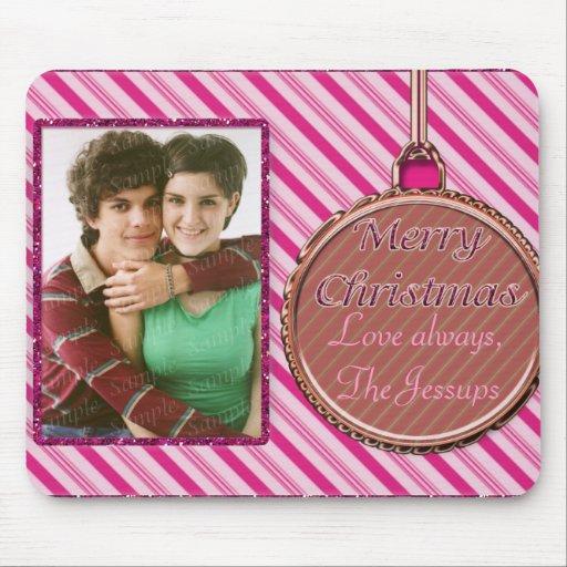 Ornamento del navidad del rosa del bastón de caram tapetes de ratón