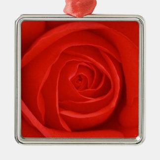 Ornamento del navidad del rosa rojo adorno navideño cuadrado de metal