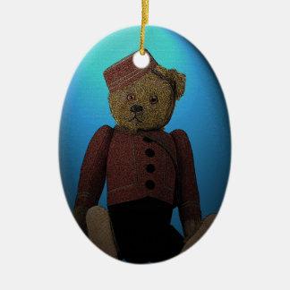 Ornamento del navidad del salto de Bell del oso de Adorno Navideño Ovalado De Cerámica