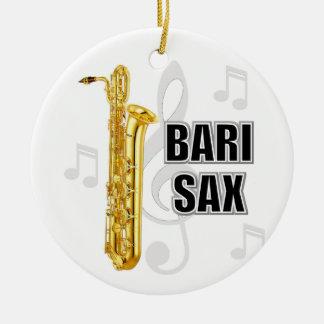 Ornamento del navidad del saxofón del barítono adorno navideño redondo de cerámica
