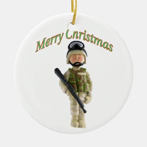 Ornamento del navidad del soldado adorno redondo de cerámica