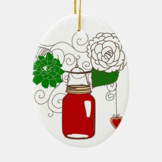 Ornamento del navidad del tarro de albañil adorno navideño ovalado de cerámica