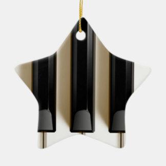 Ornamento del navidad del teclado de piano adorno navideño de cerámica en forma de estrella