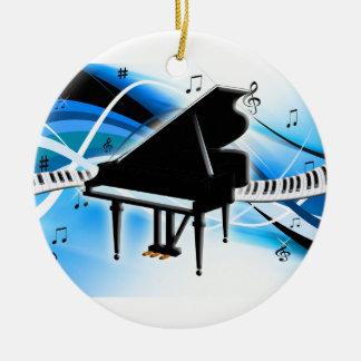 Ornamento del navidad del teclado de piano de cola adorno navideño redondo de cerámica