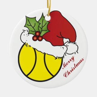 Ornamento del navidad del tenis adorno navideño redondo de cerámica