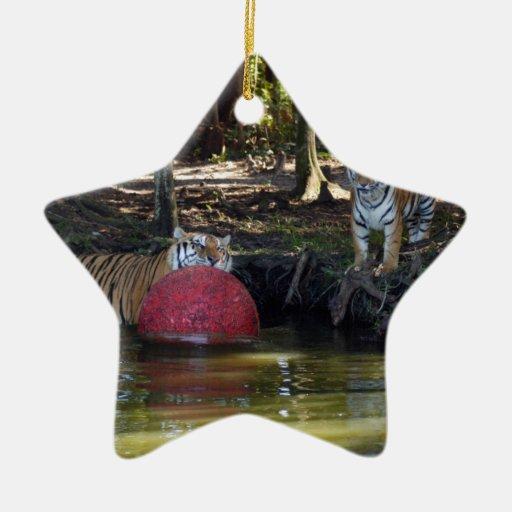 Ornamento del navidad del tigre de Bengala Adorno Navideño De Cerámica En Forma De Estrella