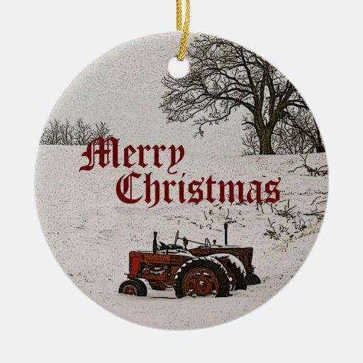 Ornamento del navidad del tractor adorno navideño redondo de cerámica