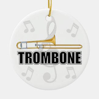 Ornamento del navidad del Trombone Adorno Redondo De Cerámica