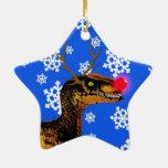 Ornamento del navidad del Velociraptor - forma de Adorno Navideño De Cerámica En Forma De Estrella