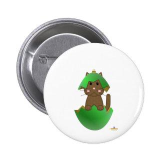 Ornamento del navidad del verde del gato de Brown Pin