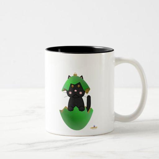Ornamento del navidad del verde del gato negro taza de café de dos colores