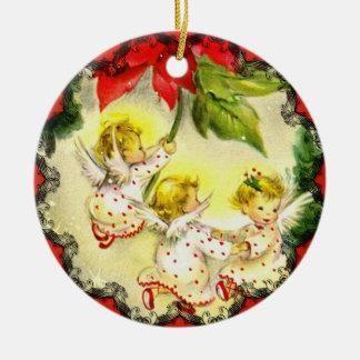Ornamento del navidad del vintage de los ángeles adorno navideño redondo de cerámica