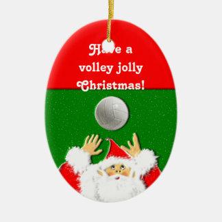 ornamento del navidad del voleibol adorno navideño ovalado de cerámica