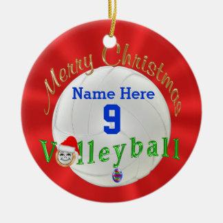 Ornamento del navidad del voleibol personalizado adorno navideño redondo de cerámica