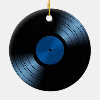 Ornamento del navidad - disco de vinilo retro adorno redondo de cerámica