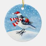 Ornamento del navidad o del invierno del arrendajo adorno navideño redondo de cerámica