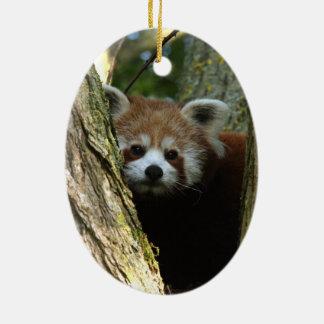 Ornamento del navidad - panda roja adorno navideño ovalado de cerámica