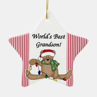 Ornamento del nieto del mundo del oso de peluche adorno navideño de cerámica en forma de estrella