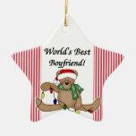 Ornamento del novio del mundo del oso de peluche ornamentos de navidad