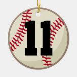 Ornamento del número 11 del jugador de béisbol adornos de navidad