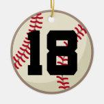 Ornamento del número 18 del jugador de béisbol adorno de navidad