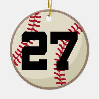 Ornamento del número 27 del jugador de béisbol adornos de navidad