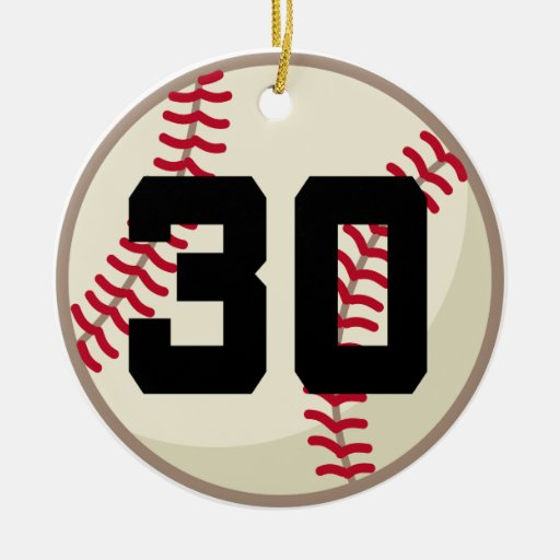 Ornamento del número 30 del jugador de béisbol adorno de navidad