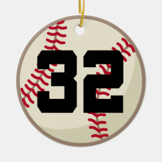 Ornamento del número 32 del jugador de béisbol adorno navideño redondo de cerámica