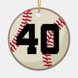 Ornamento del número 40 del jugador de béisbol adorno navideño redondo de cerámica