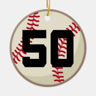 Ornamento del número 50 del jugador de béisbol ornamento para reyes magos