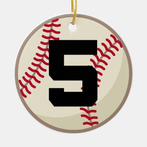 Ornamento del número 5 del jugador de béisbol ornamentos de reyes
