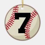 Ornamento del número 7 del jugador de béisbol ornamento para reyes magos