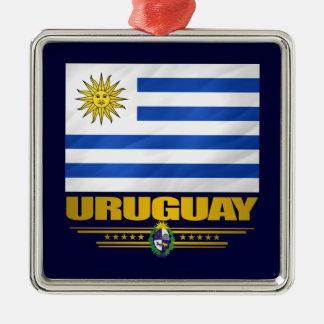 """""""Ornamento del orgullo de Uruguay"""" Adorno Navideño Cuadrado De Metal"""